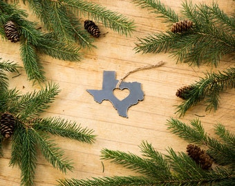 Love Texas Christmas Ornament State Rustic Metal Ornament Recycled Steel Holiday Gift Industrial Decor Wedding Favor Iron Maid Art