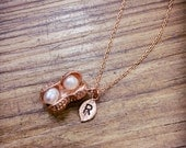 Peanut necklace, initial necklace, Personalized necklace, Nuts necklace, Twins Necklace, Mom Jewlery