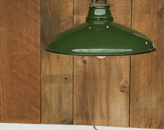Vintage Enamel Light, Green Ceramic Light, Barn Light, Industrial Lighting,  Green Enamel