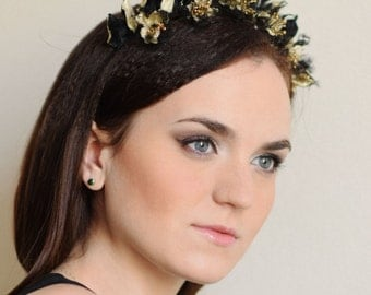 Floral Crown Flower Diadem Flower Tiara Silk Flowers Black Flowers Gold Flowers Flower Accessories Prom Accessories Gift for Her