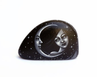 Romantic painted rock. Table decor, paperweight. Girl and crescent moon, and a starry sky, original painting on stone. Gift idea for lovers