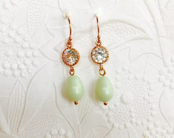 Bridesmaids Earrings,14K Rose Gold Filled French Earrings,Sterling Silver,Gold Plate,Swarovski Matt Light Green Pear Pearls,Cubic Zirconia