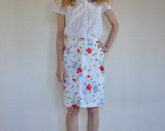 Kenzo Jungle pretty spring flowers linen pencil skirt 1980's