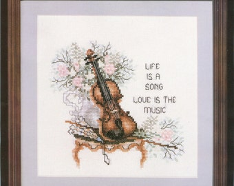 """1989 Life is a Song Love is the Music DIY Counted Cross Stitch Kit 8"""" x 8"""" - Vintage Janlynn Kit 80-24"""