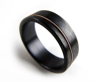 Black Zirconium Ring Guitar String Metal Jewelry