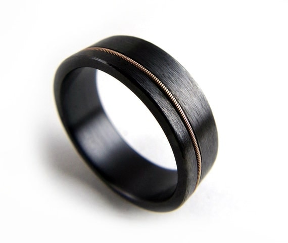 Black Zirconium Ring Guitar String Ring Black Metal Ring