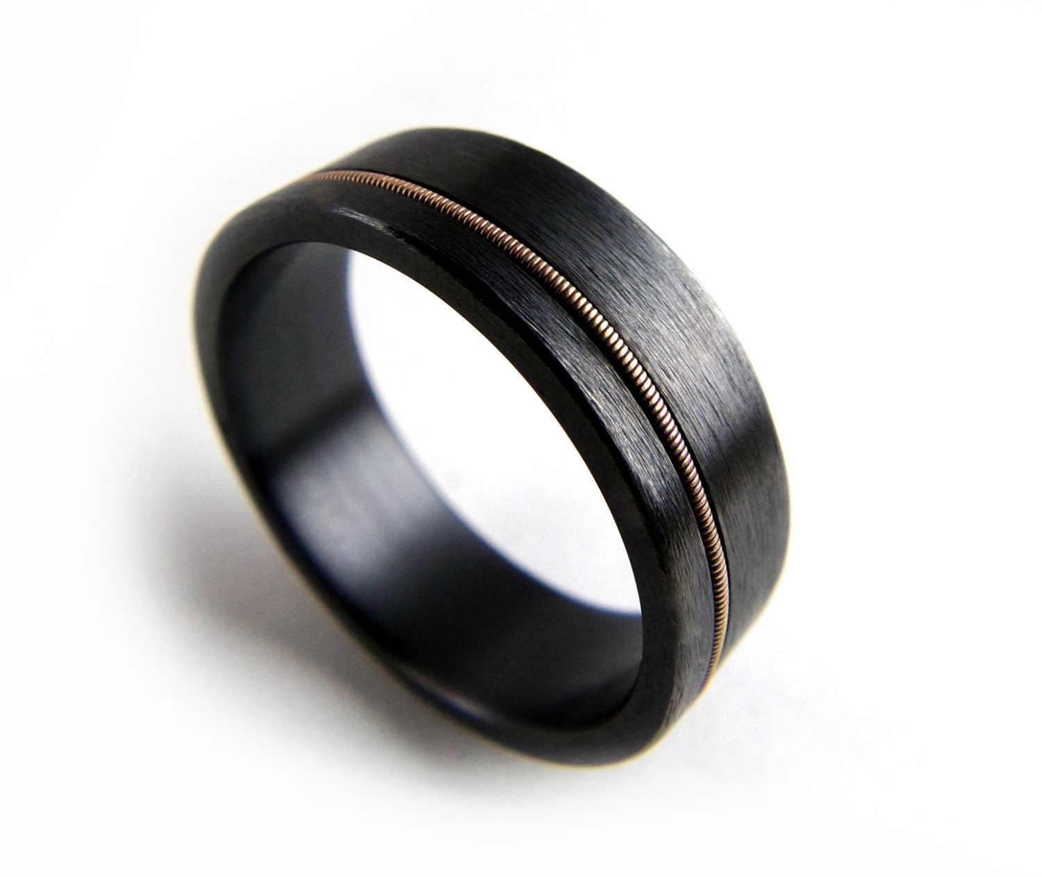 black zirconium ring guitar string ring black metal ring guitar string jewelry - Black Wedding Rings For Men