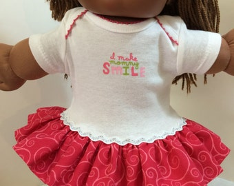 """Cabbage Patch KIDS 16 inch Doll Clothes, """"I Make MOMMY SMILE"""" Ruffle & Sparkling Trim Dress, 16 inch CPKKids Dolls, Fits 15"""" Bitty Baby"""