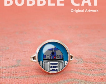 R2D2 Ring, Star Wars Adjustable Ring, Glass Dome Ring, Statement Ring, Star Wars Jewelry