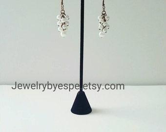 Pearl Earrings Dangle Earrings Simple Earrings Bridesmaid Jewelry White Wedding Jewelry  Boho Earrings Statement Gypsy Gifts for her
