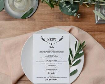 SALE Printable Wedding Menu Card, Rustic Wedding Menu, Wedding Menu Card, Eat Drink and Be Married, 5x7 Wedding Menu