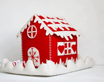 Christmas Felt House Christmas Felt Box Christmas Candy Box Christmas Gift Christmas Felt Ornament Miniature Felt Cottage Tiny Felt Case