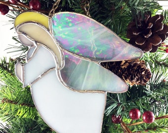 Angels, Christmas Angels, Stained Glass Angel, White Angels, home decor, Christmas tree decor, tree ornaments,  prism suncatchers