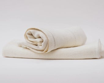White / Natural Stripe True Linen Huckaback Bath Towel