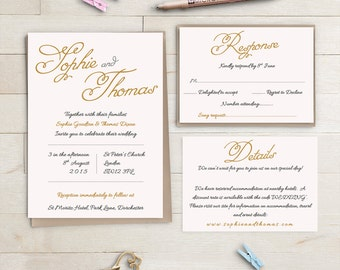 Blush Wedding Invitation set Pink and Gold printable, Sophie, Invitation RSVP and Info Template | Editable Word Template