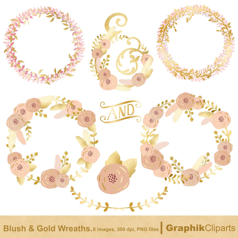 Blush and Gold Floral Wreaths. Wreaths Clip Art