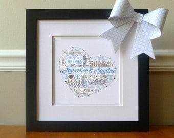 50th Anniversary Gift for Parents Grandparents, Framed Personalized Anniversary Print, Milestone Anniversary, Golden Anniversary, Word Art