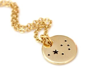 The Pleiades,The Seven Sisters,Sterling Silver,Hand Stamped Constellation Necklace,Gold Plated,Necklace Silver,Zodiac Jewelry,Birthday Gift