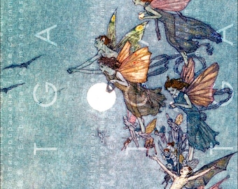LEGION of FAIRIES Across The SKY ! Stunning Fairy Tale Illustration. Digital Fairy Download. Vintage Fairies Digital Print.