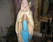 Beautiful Praying Virgin Mary/Madonna/Dolorosa Chalk Figure Altar Statue Religious Icon 23""