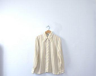 Vintage 70's pale striped blouse, pastel blouse, size large