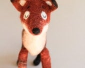 Felt Fox - Rusty, Art Toy kids gift Fox plush Felted Toy Woodland  Puppet Felt Animal Felted Toy Woodland Animal. red orange. MADE TO ORDER.