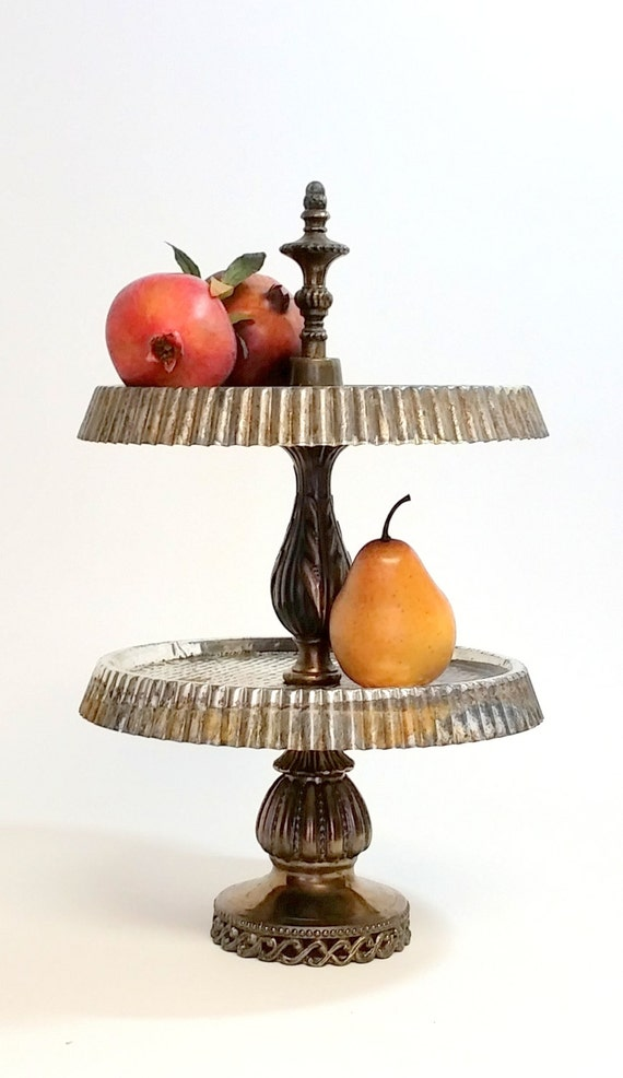 "Tiered Stand Tray Tart Tin Cupcake Serving Stand Re Purposed Salvage Parts-""Ships International"" Email For Rates"