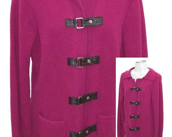 Dark Pink Fuchsia / 100% Cotton / Buckle Front Sweater - Fits Size Med to Large