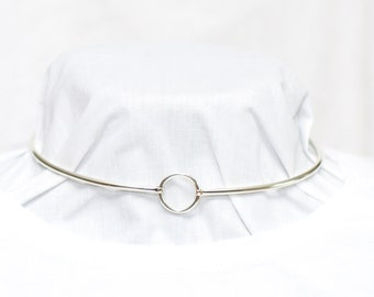 New Design, Discreet Day Collar, 3mm sterling silver (8g), Padlock clasp, hinged by front O ring, Handmade BDSM Collar