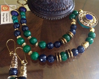 Creativity in cool hues of greens and blue jewelry set.