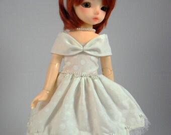 BJD dress - polkadot white YOSD