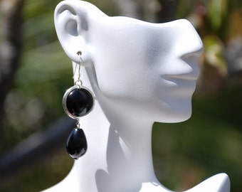 Black Onyx Stone earrings Black Gemstone Earrings Silver bezel drop earrings Silver custom earwire earrings Gemstone jewelry