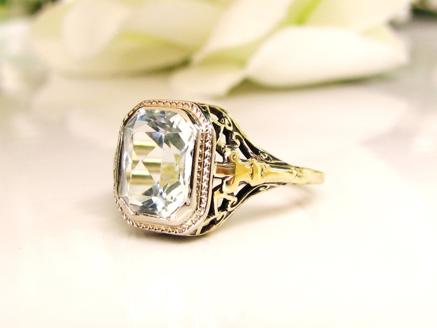 antique emerald cut aquamarine ring 2 62ct aquamarine