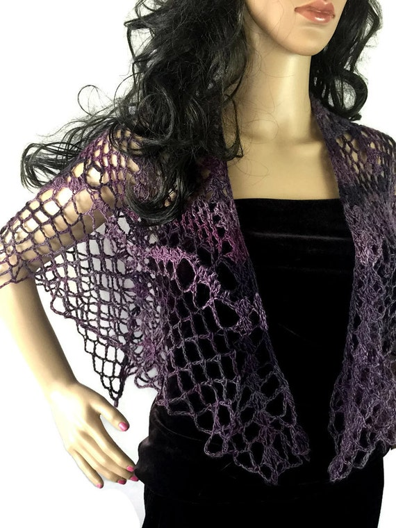 Outlander Purple Mystical Shawl - Swooning Wrap - Crocheted Goth Gothic Fraser Gabaldon FREE SHIPPING