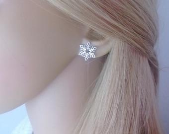 Snowflake stud earrings sterling silver; sterling silver snowflake earrings; Christmas earrings; holiday earrings