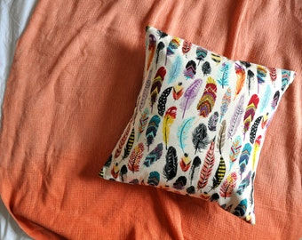 Multicolour Feather Print Envelope Cushion Cover