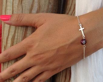 Evil eye bracelet cross, silver  bracelet, sideways cross bracelet, purple evil eye, 925 sterling silver cross, sideways cross silver