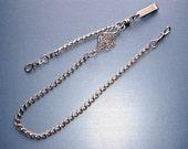 Pocket Watch Chain Antique SILVER Personalized Monogram Victorian Fob Chain Handmade Key Wallet Art Nouveau Vintage Wedding Anniversary Gift