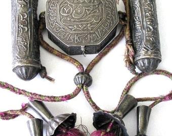 Antique Islamic Quran Box, Persian, Three Part, High Grade Silver, Talisman,Two Scroll Cylinders, Koran Prayer Box, Iran, 5.5cm, 98 Grams