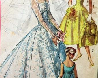 Vintage Simplicity 2066 Sewing Pattern, 1950s Wedding Dress Pattern, 1950s Sewing Pattern, Bridal Gown Pattern, Bust 31.5, Bridesmaid Dress