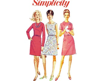 1960s A Line Dress Bust 43 Vintage Simplicity 7502 Belted Dress with Jewel Neck and Sleeve Variations Full Figure Sewing Pattern