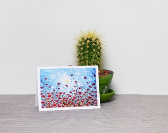Poppies card Happy anniversary card Flower card Spring birthday card Red flowers Summer card Botanical art print Floral card