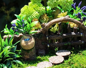 Miniature Garden, Fairy Garden, Fairy, Outdoor Miniatures, Mini Wood Slice, Bird Nest, Miniature Birds, Wood Stump, Miniatures for Terrarium