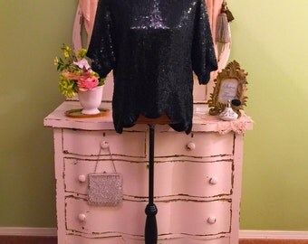 Black Sequin Top, Beaded Trophy Top, Formal Evening Top, L/XL, Art Deco Style Loose Fit Top, Elegant Minimalist Top, Scalloped Sequin Blouse