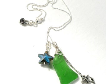 Embossed Green Sea Glass Sterling Silver Wire Wrap with a Silver Anchor and Abalone Starfish on a Diamond Cut Sterling Silver Bead Chain