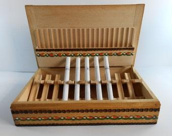 Vintage wooden cigarette case,Handmade pyrography wooden box case,Tobacco case,Cigarette Holder , Cigarette Dispenser ,Smokers gift