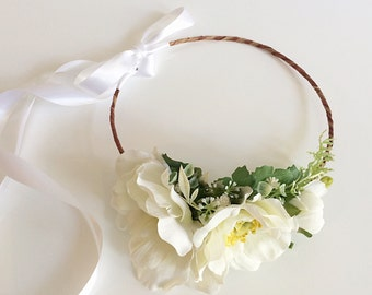 Ivory Anemone Bridal Floral Crown- Ivory Flower Crown-