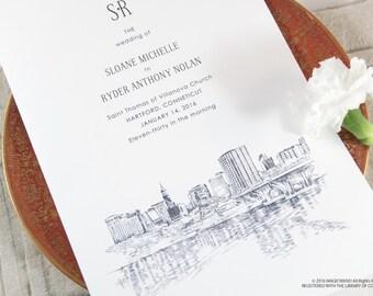 Hartford Skyline Wedding Programs (set of 25 cards)