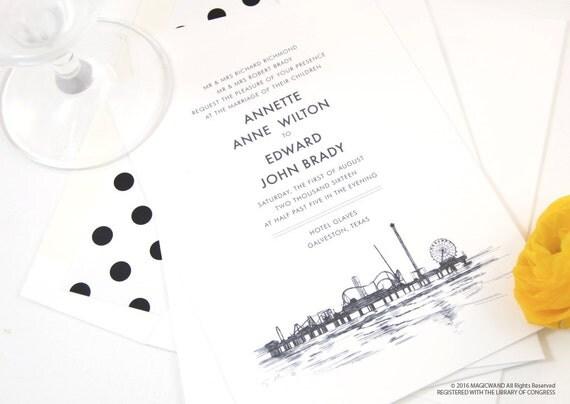 Galveston Texas Skyline Wedding Invitations Package Sold In