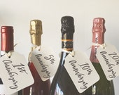 Anniversary Wine Bottle Tags * Wedding, Bride, Bridal Shower, Bridesmaid, MOH, Calligraphy